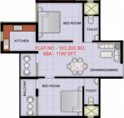 Indo City Enclave (2BHK+2T (1,190 sq ft) Apartment 1190 sq ft)