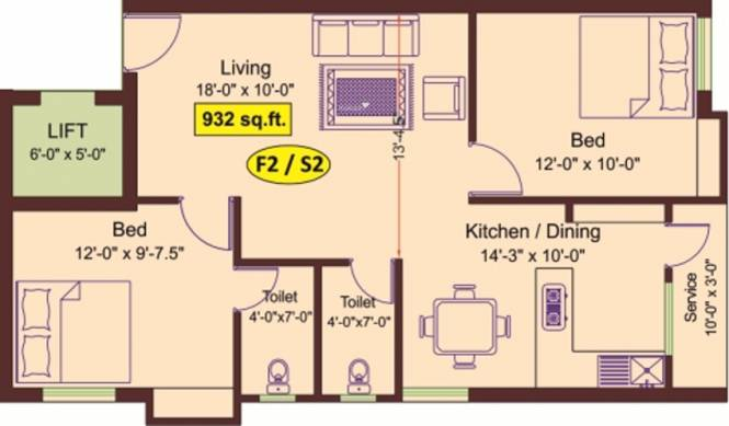Meridian Kavins Blossoms (2BHK+2T (932 sq ft) Apartment 932 sq ft)