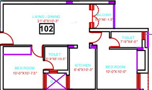 Covai Serene Adinath (2BHK+2T (856 sq ft) Apartment 856 sq ft)
