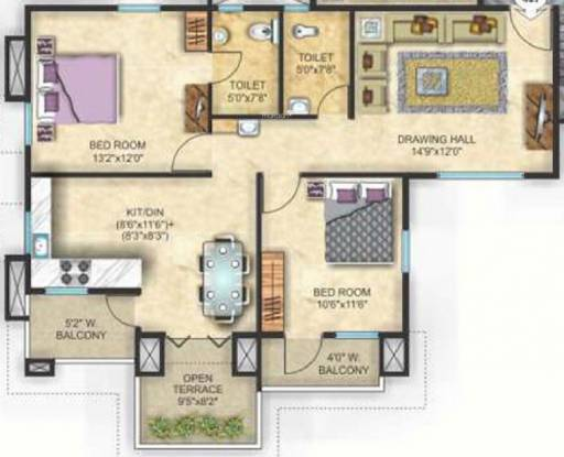 Maxx Sanman (2BHK+2T (950 sq ft) Apartment 950 sq ft)
