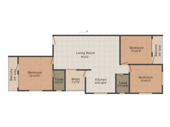 Shree Siddheshwar Gold (3BHK+2T (1,450 sq ft) Apartment 1450 sq ft)