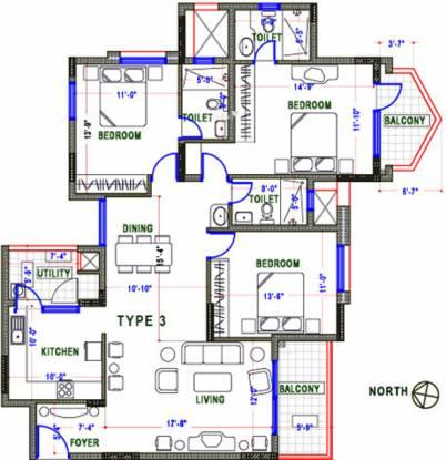 NCC Nagarjuna Maple Heights (3BHK+3T (1,657 sq ft) Apartment 1657 sq ft)