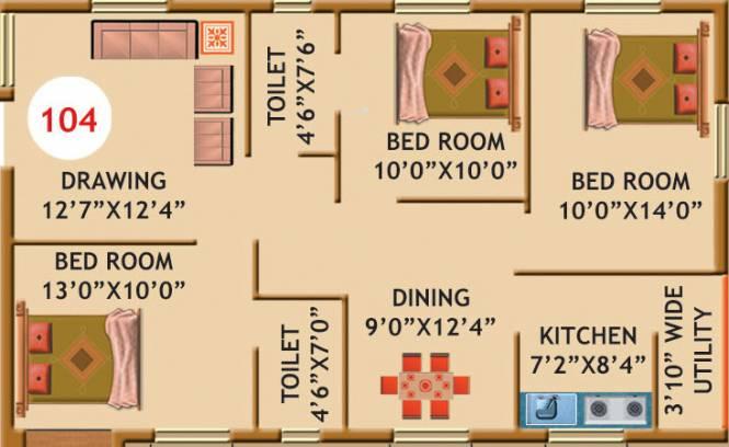 Essen Infocity Greens (3BHK+2T (1,191 sq ft) Apartment 1191 sq ft)
