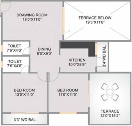 Abhijit Jayanti Nagari 4 (2BHK+2T (1,050 sq ft) Apartment 1050 sq ft)