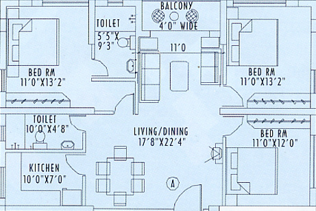 Space Silver Spring (3BHK+2T (1,518 sq ft) Apartment 1518 sq ft)
