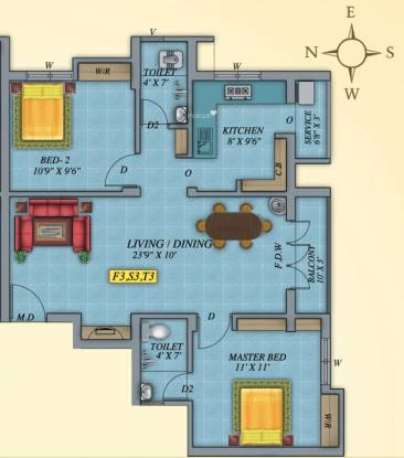 Marutham Florence (2BHK+2T (938 sq ft) Apartment 938 sq ft)