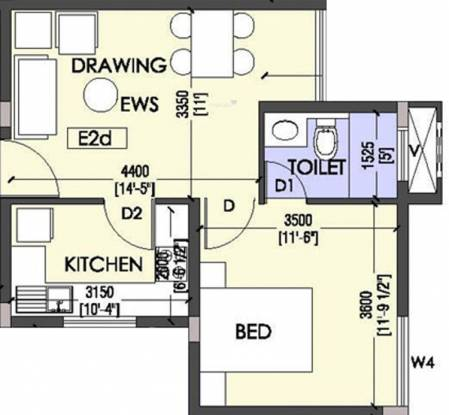 Coromandel Coral Ennar (1BHK+1T (602 sq ft) Apartment 602 sq ft)