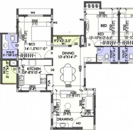 Coromandel Coral Ennar (2BHK+2T (1,250 sq ft) Apartment 1250 sq ft)