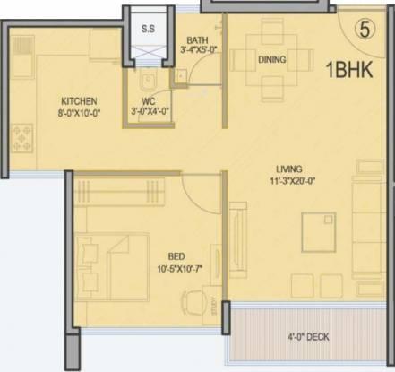 Palazzio (1BHK+1T (879 sq ft) Apartment 879 sq ft)