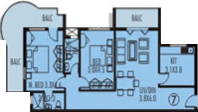 Nanu Sapana Sea Mist (2BHK+2T (1,347 sq ft) Apartment 1347 sq ft)