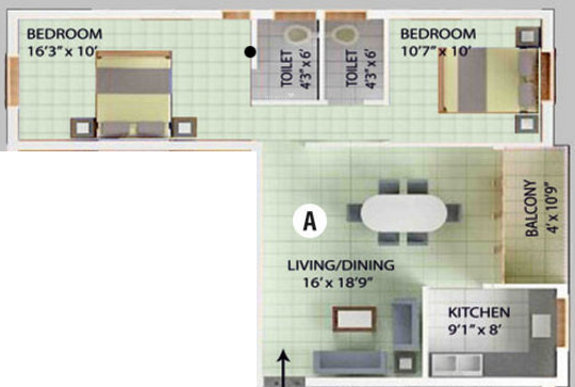 Kirthika Baala Enclave (2BHK+2T (990 sq ft) Apartment 990 sq ft)