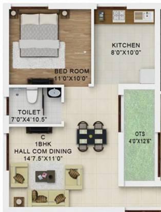 Kirthika Royal Enclave (1BHK+1T (600 sq ft) Apartment 600 sq ft)