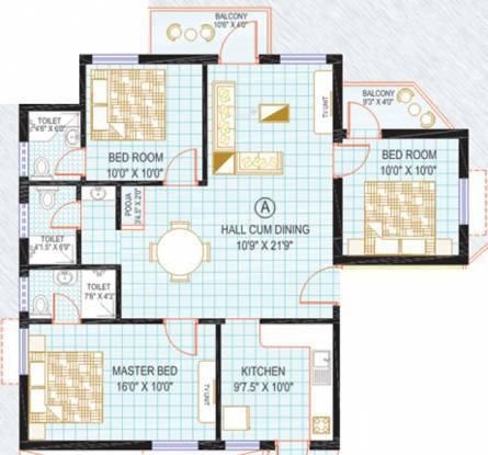 Kirthika Sunshine Apartment (3BHK+3T (1,343 sq ft) Apartment 1343 sq ft)