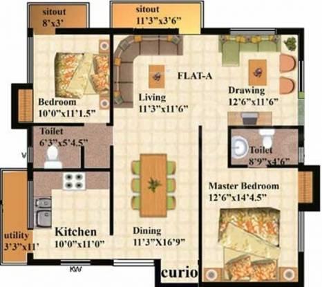 Raga Amrita (2BHK+2T (1,398 sq ft) Apartment 1398 sq ft)