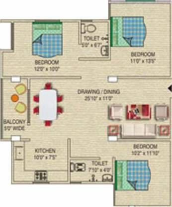 Sunrise Narayan Palace (3BHK+3T (1,280 sq ft) Apartment 1280 sq ft)