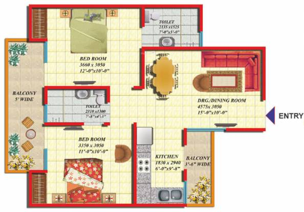 Gaursons Green Vista (2BHK+2T (920 sq ft) Apartment 920 sq ft)