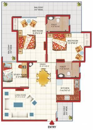 Gaursons Green Vista (2BHK+2T (1,231 sq ft)   Study Room Apartment 1231 sq ft)