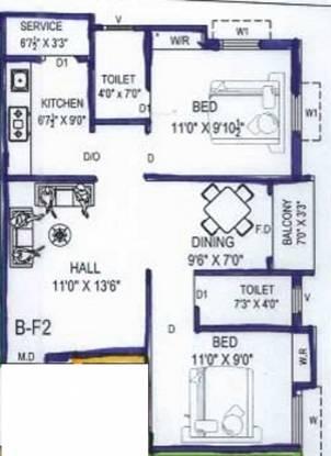 Inforich Prema Flat (2BHK+2T (931 sq ft) Apartment 931 sq ft)