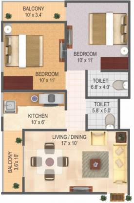 RAS Town (2BHK+2T (1,045 sq ft) Apartment 1045 sq ft)