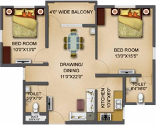 Basera Aangan (2BHK+2T (1,050 sq ft) Apartment 1050 sq ft)