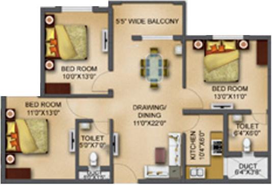 Basera Aangan (3BHK+3T (1,220 sq ft) Apartment 1220 sq ft)