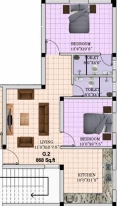 Cholamandhal Malligai Flats (2BHK+2T (868 sq ft) Apartment 868 sq ft)