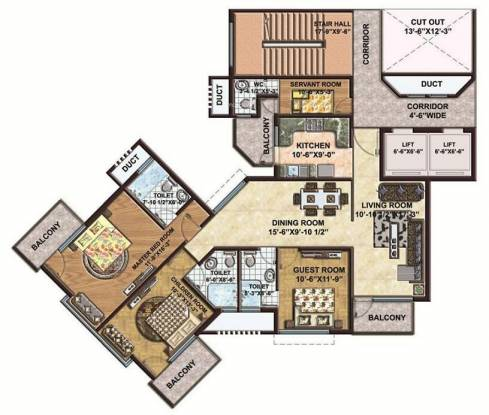 Palencia 91 (3BHK+3T (2,061 sq ft) + Servant Room Apartment 2061 sq ft)