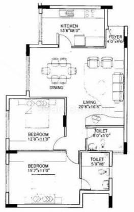 Purva Krishna Revara (2BHK+2T (1,300 sq ft) Apartment 1300 sq ft)