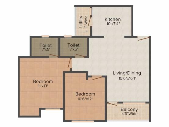 Future Amari Heights (2BHK+2T (1,095 sq ft) Apartment 1095 sq ft)