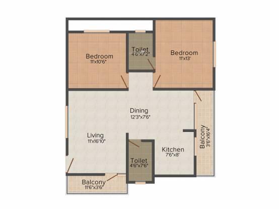 Lakshaya Lakshya Homes (2BHK+2T (1,010 sq ft) Apartment 1010 sq ft)