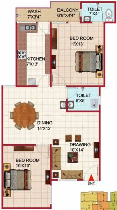 Agrawal Sagar Golden Palm (2BHK+2T (1,000 sq ft) Apartment 1000 sq ft)