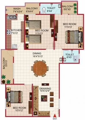 Agrawal Sagar Golden Palm (3BHK+3T (1,200 sq ft) Apartment 1200 sq ft)