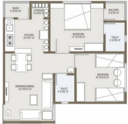 Aryan Crystal (2BHK+2T (963 sq ft) Apartment 963 sq ft)