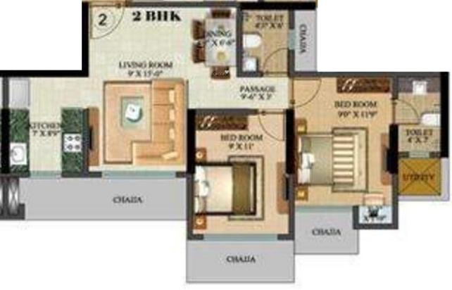 Sethia Green View (2BHK+2T (830 sq ft) Apartment 830 sq ft)