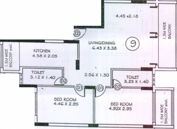Marao Kenny Complex (2BHK+2T (1,469 sq ft) Apartment 1469 sq ft)