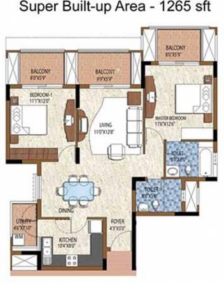 Purva Purva Atria (2BHK+2T (1,265 sq ft) Apartment 1265 sq ft)