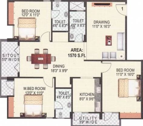 Jayalakshmi Jayalakshmi Residency (3BHK+3T (1,570 sq ft) Apartment 1570 sq ft)