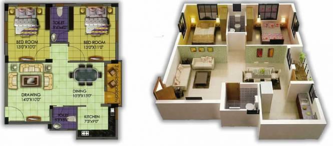 Trellis Opel (2BHK+2T (1,053 sq ft) Apartment 1053 sq ft)