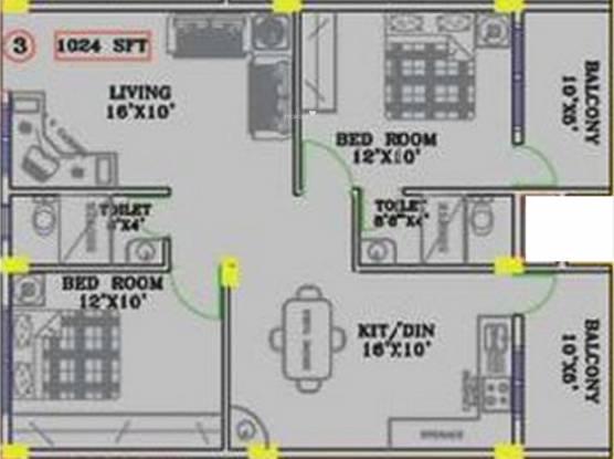 Mahaveer Rich (2BHK+2T (1,024 sq ft) Apartment 1024 sq ft)