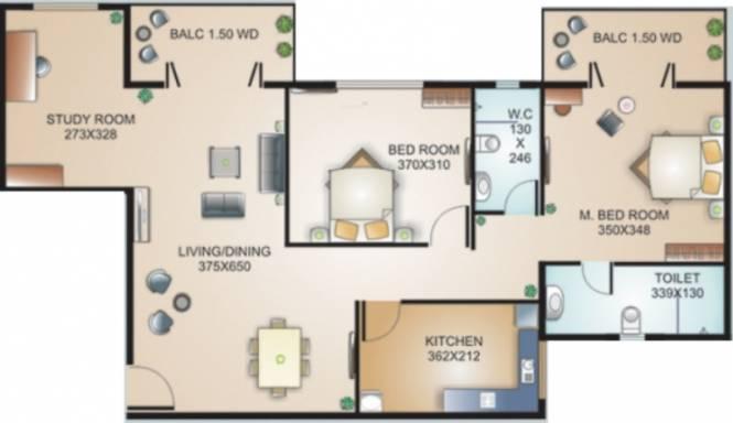 Models Boulevard (2BHK+2T (1,130 sq ft) + Study Room Apartment 1130 sq ft)