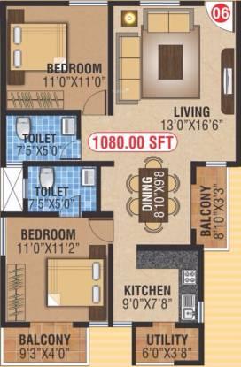 NCN Gold (2BHK+2T (1,080 sq ft) Apartment 1080 sq ft)
