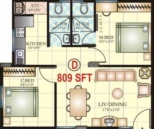 Vaishnavi Prakash Emerald (2BHK+2T (809 sq ft) Apartment 809 sq ft)