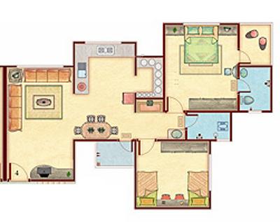 Happy Home Nandini (2BHK+2T (1,300 sq ft) Apartment 1300 sq ft)