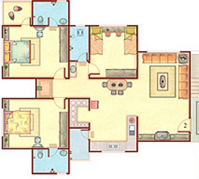 Happy Home Nandini (3BHK+3T (1,700 sq ft) Apartment 1700 sq ft)