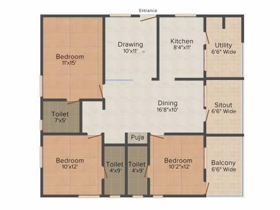 Lansum Greens (3BHK+3T (1,610 sq ft) Apartment 1610 sq ft)