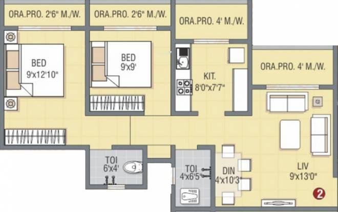 Ami Pink City (2BHK+2T (937 sq ft) Apartment 937 sq ft)