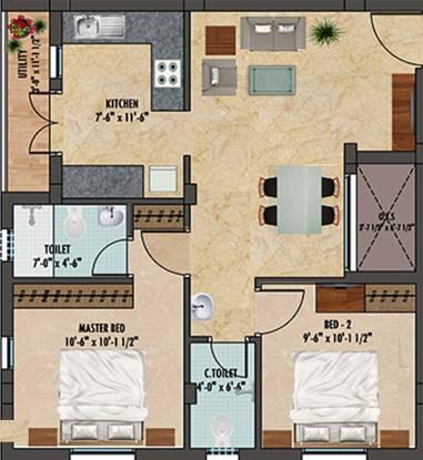 Ranga Gomathi (2BHK+2T (631 sq ft) Apartment 631 sq ft)