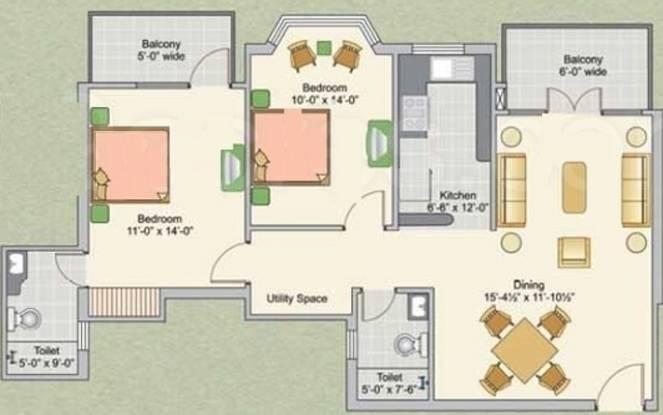 Ashiana Upvan (2BHK+2T (1,225 sq ft) Apartment 1225 sq ft)