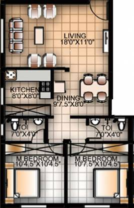 Anu Radha Enclave (2BHK+2T (896 sq ft) Apartment 896 sq ft)
