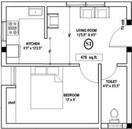 Anu Srinivasa Garden (1BHK+1T (476 sq ft) Apartment 476 sq ft)